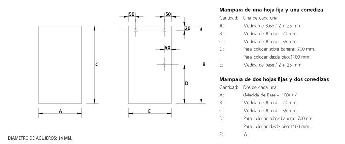 Kit Mamparas Para Baño:Herrajes para puertas, DVH doble vidriado hermético, Frentes